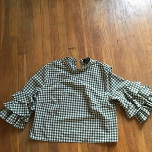 Anthropologie Green Checkered Blouse
